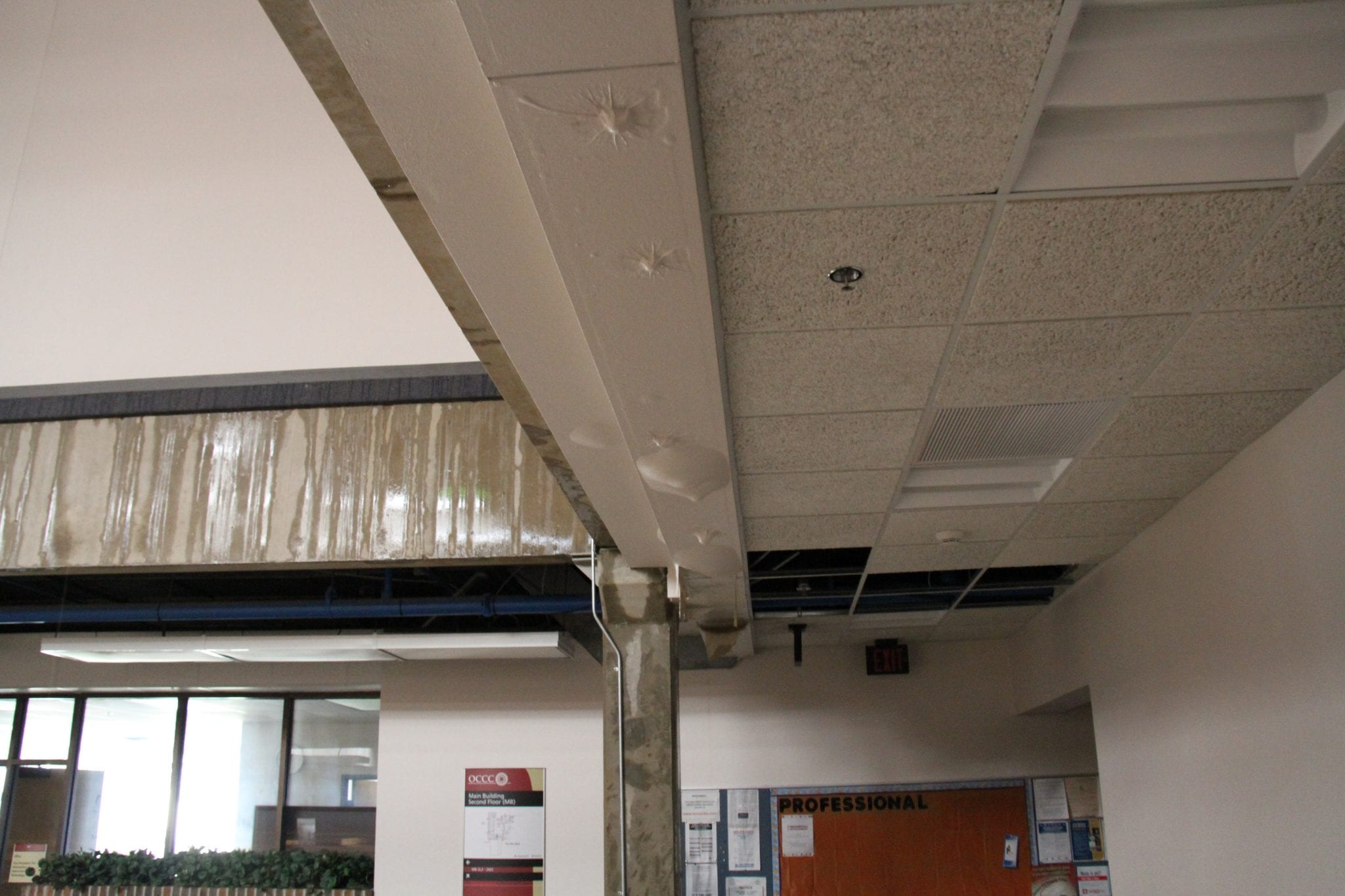 onenet supports oklahoma city community college onenet storm damage in a ceiling at occc