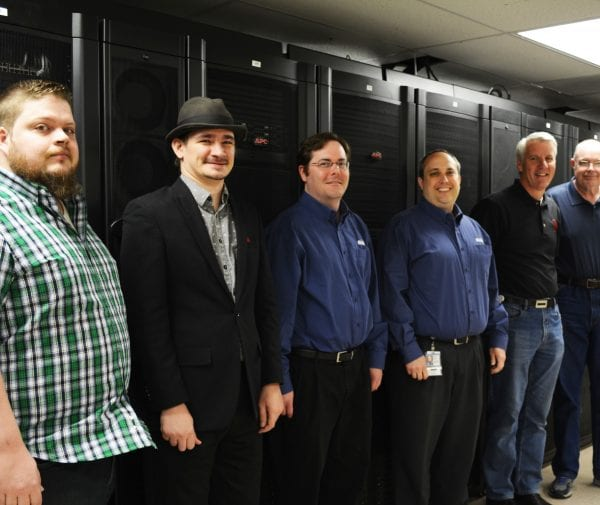 Systems team members (left to right) Jeremy Wright, Skyler Donahue, Brian Burkhart, Bill Bradford, Frank Hedgers and Paul Tibbitts