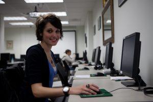 NSU student at computer