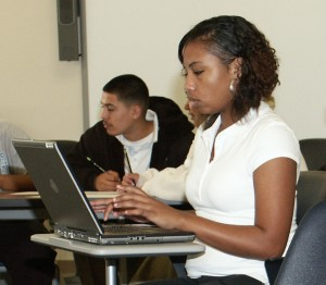 Metro Tech student using a laptop
