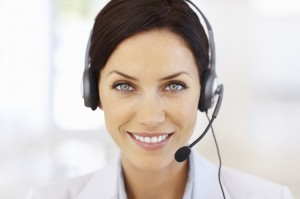 Photo of a customer service rep on the phone