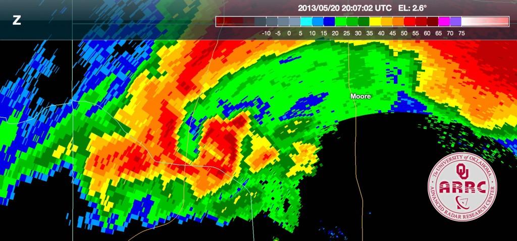 PX-1000 Radar Image of the 2011 Moore Tornado- courtesy of ARRC.