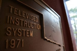 Televised Instruction System 1971 sign with outline of state of Oklahoma