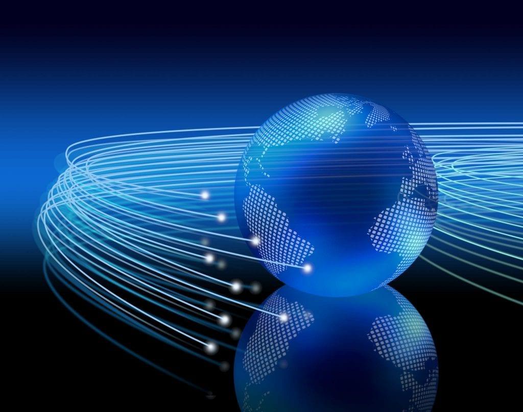 Optical fiber shooting around a globe