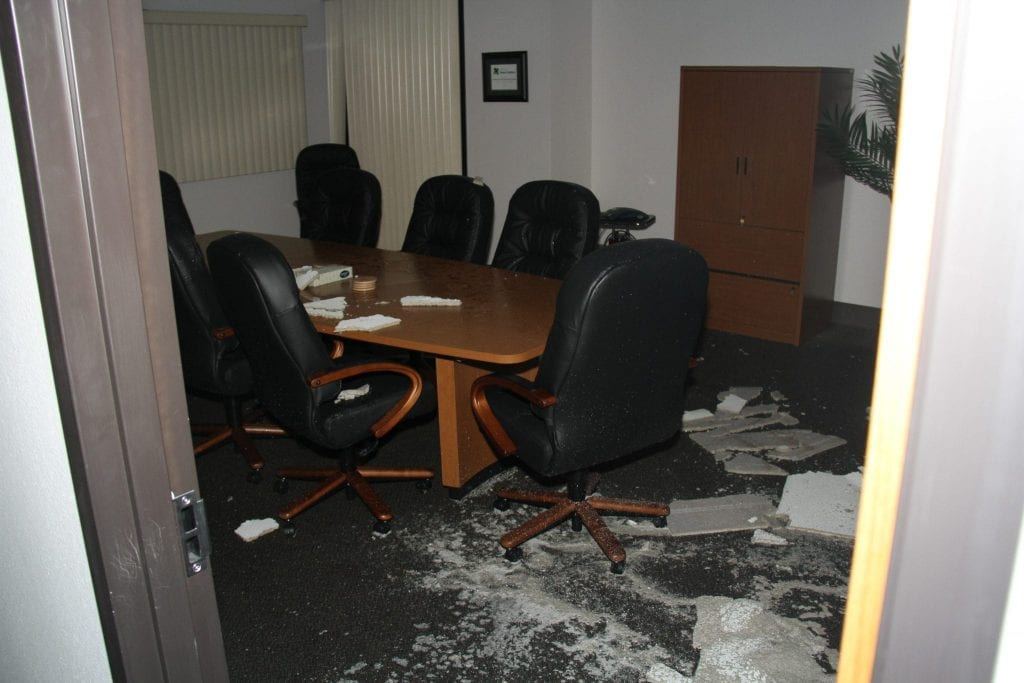 Storm damage ina conference room at OCCC