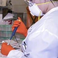 Healthcare professional working in a lab