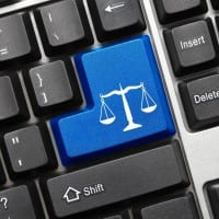 Scales of justice button on keyboard