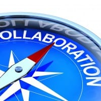"""Compass with the word """"Collaboration"""" photo"""