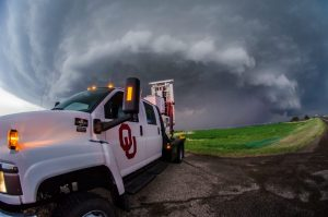 OU radar research truck in front of an Oklahoma storm