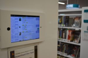 digital kiosks in library