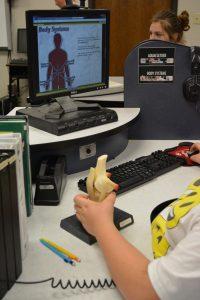 Student using STEM module