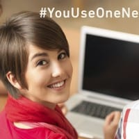 """Student at Computer """"#YouUseOneNet"""""""