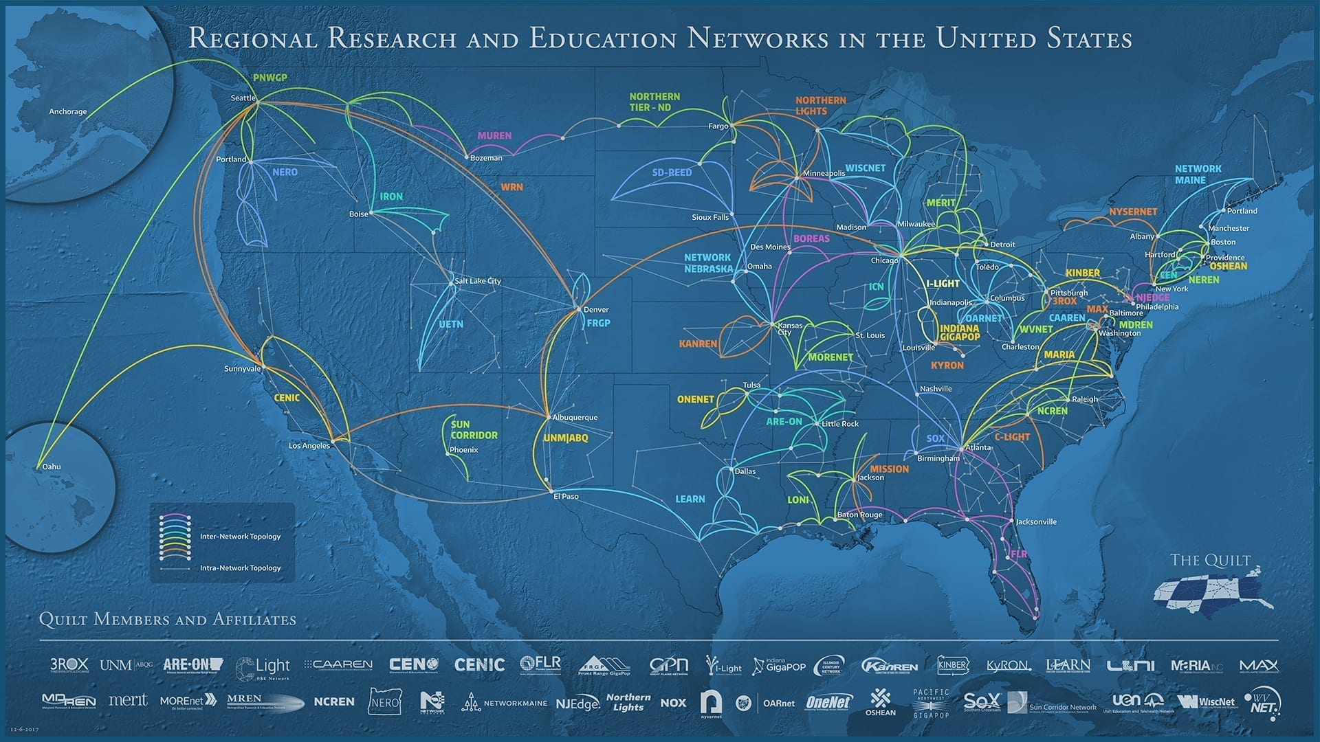 US Map of R&E Networks