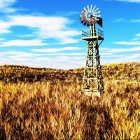 Windmill in a rural field