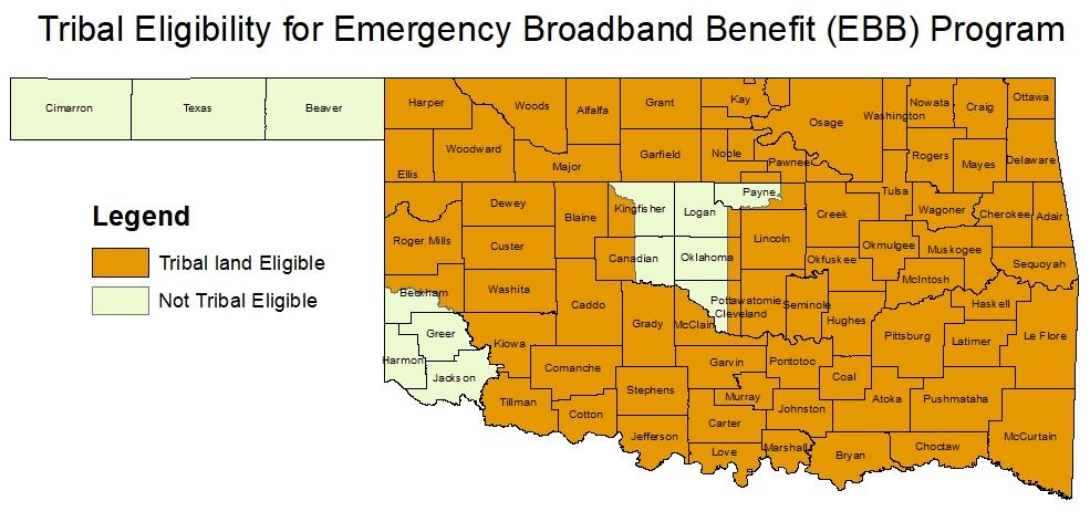 Tribal Eligibility Map for Emergency Broadband Benefit Program